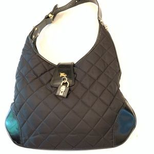 Burberry Fabric Quilted Brooke Leather Hobo Bag